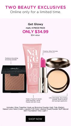 Get glowy with this gorgeous pack! Avon Online, Avon Rep, White Velvet, Lipstick, Canada, 3d, Beauty, Shop, Lipsticks