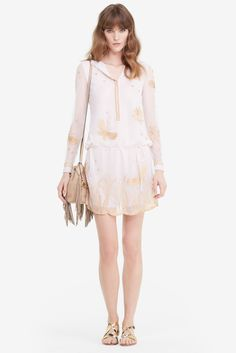 DVF Delphina Embroidered Tulle Dress