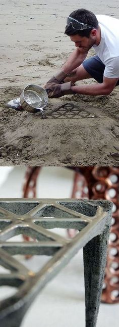 British designer Max Lamb Making of 'Pewter Stool' Cast in the sand of a beach in Cornwall: Pewter Stools, Cornwall Danielle, Design Max, Max Co, Design Gadgets Products, British Design, Max Lamb Sand Casting Aluminum, Metal Casting, Cool Designs, Epoxy Resin Table, Metal Projects, Metal Crafts, Wood Projects, Metalworking, Resins