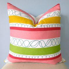 Pink Green Yellow Fun Stripe Decorative Pillow by pillowplush, $26.00
