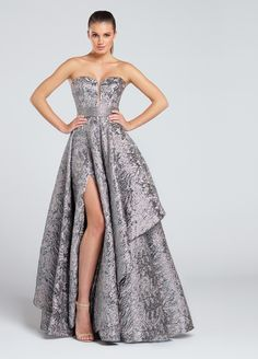 Ellie Wilde EW117040 - Strapless metallic jacquard A-line gown, deep plunging sweetheart neckline with illusion modesty panel, jeweled waistband, asymmetrically draped skirt with thigh-high side slit. Removable straps included.  Sister dress to styles EW117039 and EW117041.