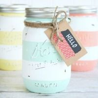 Spring Inspired Striped Mason Jars using AMERICANA CHALKY PAINT FROM HOME DEPOT