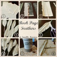 Book page feathers. LAYER TOGETHER FOR SMALL WINDOW CURTAINS!!!!!!!