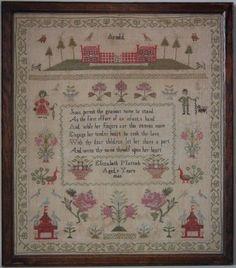 1843 Country Scene Sampler by Elizabeth Mattock