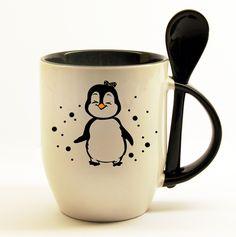 Penguin Mug, Penguin Love, Penguins And Polar Bears, Cute Penguins, Coffee Shop, Coffee Cups, Candy Christmas Decorations, My Cup Of Tea, Tea Mugs