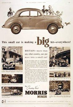 """Morris Minor. This small car is making a """"Big"""" hit every were. (Original Poster). v@e"""