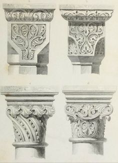 "Beautiful architectural decorations from the public domain ebook, ""Ornamentik des Mittelalters (1838)"". Download in epub, pdf or kindle here: https://archive.org/stream/ornamentikdesmit00heid"