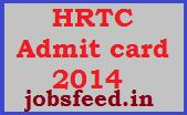 HRTC Multipurpose Assistant Admit card 2014 Download HRTC Hall Ticket