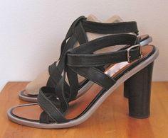 LANVIN sz 37/7, Black Strappy High Heel Sandal w/Silver Trim $199 on ebay