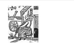 An image of a spinning wheel taken from a woodcut found in the Ballad of the patient Grisell.