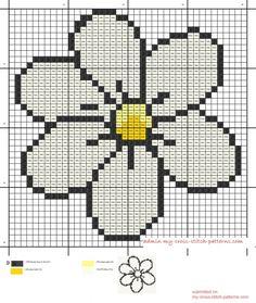 small white daisy cross stitch pattern 38x39 4 dmc threads (click to view)
