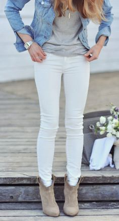 |White Jeans, Grey Booties, Grey Tank, and Denim Jacket|