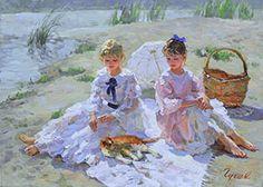 """Girlfriends"" by Vladimir Gusev, oil on canvas, 50x70 cm."