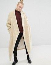 Monki   Monki Oversized Faux Shearling Maxi Coat