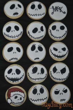 """How to make a """"Nightmare Before Christmas"""" Jack Skellington Cookie. Perfect buffet food for our Halloween With Tim Burton party!"""
