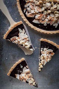 Chocolate, Coconut, Macadamia Nut Tart {Gluten-Free, Vegan}