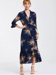 High Slit Floral Belted Maxi Dress - CADETBLUE L
