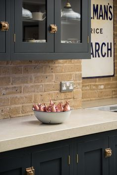 'Pantry Blue' Shaker cabinets with concrete worktops
