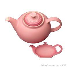 ティーポットとティーバックを置くためのティーホルダーのセット [¥5,000]  I have two tea pot, white and red. But I don't have this color....