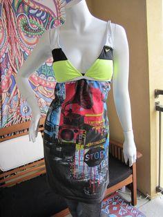 Trippy Urban t shirt bikini dress. via Etsy.