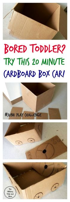 Keep your toddler busy for hours after making this cardboard box car in 20 minutes or less   Kids activities   Cardboard box activities