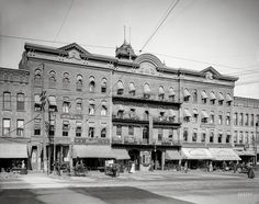 """1907. """"Northampton, Massachusetts -- Draper Hotel."""" Where the amenities include an American Express office and Boyden's """"Dining Parlor.Shorpy Historic Picture Archive :: The Draper: 1907 high-resolution photo"""