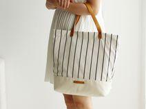 Canvas Leather Tote Bag,Shoulder Bag,School Bag