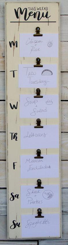 Weekly Menu Sign Daily Menu Sign Weekly Menu Planner Rustic Dinner Menu Boards, Weekly Menu Boards, Weekly Menu Planners, White Board Organization, Kitchen Organization, Paperwork Organization, Weekly Dinners, Meal Planning Board, Mini Chalkboards