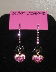 'Betsey Johnson Perfectly Pave Heart Earrings' is going up for auction at  9pm Fri, Jan 25 with a starting bid of $20.