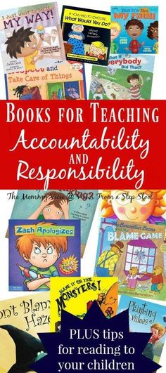 Books for Helping Teach Accountability to Kids Reading books about accountability and responsibility to kids is a great way to supplement some of those difficult conversations about challenging concepts. Plus, check out our tips for reading to your kids! Kids Reading, Reading Books, Books To Read, My Books, Books For Kids, Reading Lists, Help Teaching, Teaching Reading, Teaching Ideas