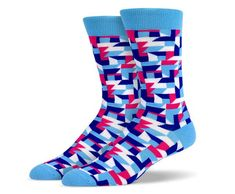 Powder Blue Red Tetris Socks