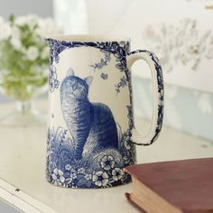 Blue and white cat pitcher - Shabby Chic Accessories.so sweet