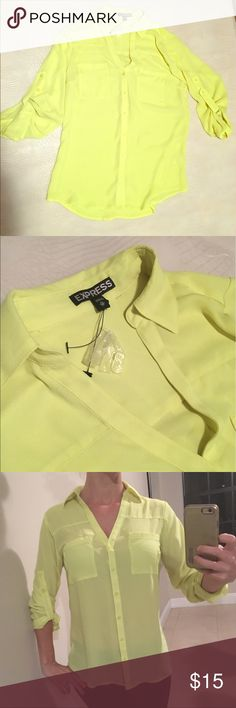 Brand new Neon Yellow Express Top Brand new with buttons still hanging on the tag. Never worn neon yellow top from express. Light and flowy and perfect for summer! Express Tops Blouses