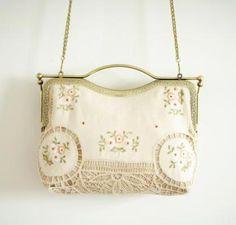Genuine Vintage Cotton Battenburg Lace Bags Applique Embroidery Floral Metal Frame Flower Kiss lock Clasp White Crossbody Handbags Gift