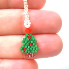 Dainty Christmas Tree Necklace Brick Stitch Beaded by BeadCrumbs