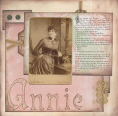 Annie...fresh peach and mint green colors on a sepia toned background highlight the faded hues of the photo.