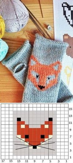 Fox-Muster mit Stricknadeln – Stricken – Fox pattern with knitting needles – knitting – Baby Knitting Patterns, Knitting Charts, Knitting Stitches, Knitting Needles, Crochet Mittens, Knitted Gloves, Crochet Hats, Free Crochet, Baby Mittens