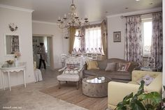 Living and dinning room, open space interior desig, French provence style decoration