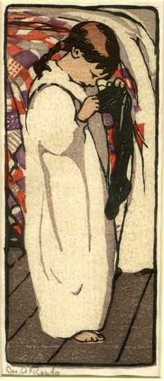 Young girl looking in stocking, bed with quilt behind. By Mabel Royds, c.1922 Colour woodcut, printed in grey, brown, red, mauve and black. Coll. British Museum.