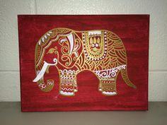 9x12 Hand painted canvas art in your choice of color background with the elephant. Item shown has a red background and gold & white elephant,