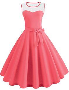 5c6f7402b5e Women's Vintage Swing Dress - Solid Colored Vestido Estampado, Escote, Ropa  Cristiana, Tallas