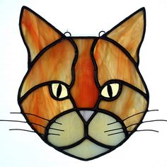 stained glass.fr | Orange/ginger cat stained glass suncatcher | Explore Good ...