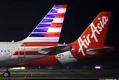 American and AirAsia Airbus A319-112 @ HAM