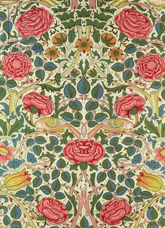 """'Rose', 1883 (printed cotton) ~ """"Rose,"""" William Morris. Arts and Crafts Movement. Botanical design and pattern."""