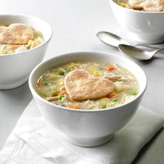 Chicken Potpie Soup: My grandmother hand-wrote a cookbook; she created this amazing pie crust, and I added the delicious soup for it. —Karen LeMay, Seabrook, Texas Get Recipe Chicken Pot Pie Soup Recipe, Chicken Potpie, Chicken Recipes, Chicken Dumplings, Chicken Chowder, Chicken Soup, Chicken Tortellini, Chicken Meals, Soup Recipes