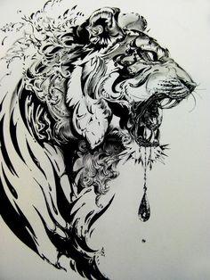Tiger Illustration by Nekoshowgun. Powered by Elebra! Neue Tattoos, Bild Tattoos, Body Art Tattoos, Tattoo Drawings, Tatoos, Art Drawings, Tattoo Pics, Sketch Tattoo, Wrist Tattoos
