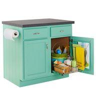 DIY Aqua Kitchen Cabinet Island - Lowes Creative Ideas