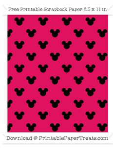 Free Ruby Pink Small Mickey Mouse Head Pattern Paper