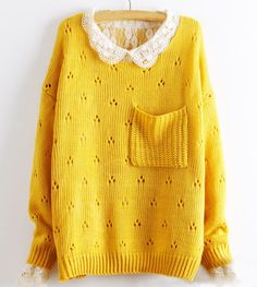 Loose Fitting Scoop Neck Big Pocket Long Sleeve Sweater for Women (YELLOW,ONE SIZE) By @Samantha Thomas