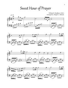 Sweet Hour of Prayer - This hymn arrangement is 5 pages (approx. 2:35 minutes in length). It is perfect for preludes and performances at church with its soft, but expressive accompaniment.